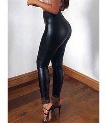 leggings de cintura alta con patchwork de encaje negro