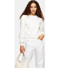 ivory exaggerated sleeve knitted sweatshirt sweater - ivory