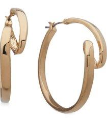 """anne klein gold-tone medium ribbon hoop earrings, 1.25"""""""