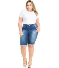 bermuda confidencial extra plus size jeans summer feminina