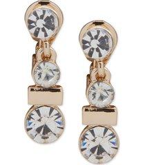 anne klein gold-tone crystal bezel clip-on drop earrings
