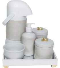 kit higiene espelho completo porcelanas, garrafa e capa flor de liz dourado quarto bebê unissex