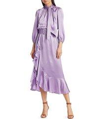 cinq à sept women's bella silk belted midi dress - lavender - size 0