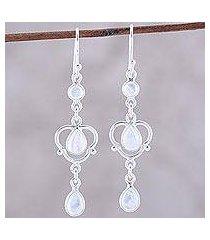 rainbow moonstone dangle earrings, 'iridescent rain' (india)