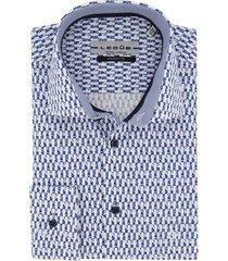 ledub overhemd modern fit blauw wit geprint