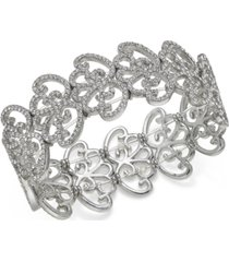 inc silver-tone pave openwork stretch bracelet, created for macy's