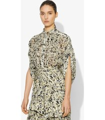 proenza schouler abstract animal print blouse butter/black abstract animal/yellow 10