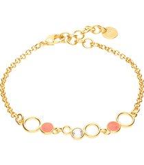 bracciale in ottone rosato con cristalli e smalto arancione per donna