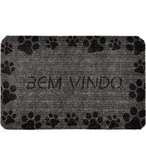 capacho carpet bem vindo com patinhas pretas cinza único love decor