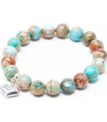 katie's cottage barn jasper sea sediment with heart give back bracelet