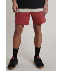 bermuda de sarja masculina listrada com bolso chumbo