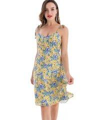 vestido floral pabilo amarillo nicopoly