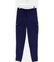 womens cargo there high-waisted textured pants - navy