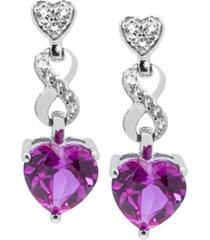 women's heart infinity earrings in sterling silver