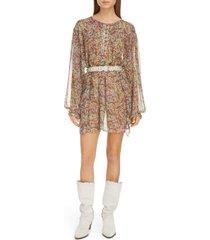women's isabel marant floral print long sleeve silk dress