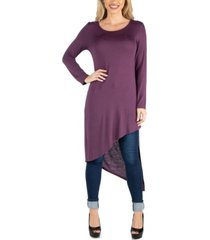 24seven comfort apparel women full length long sleeve asymmetric hem top