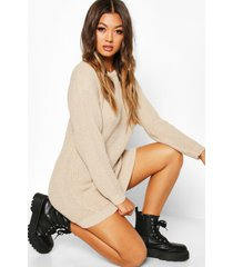 crew neck sweater dress, stone