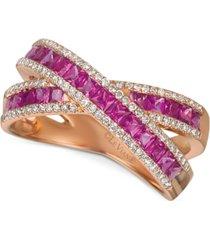 le vian passion ruby (1-3/8 ct. t.w.) & vanilla diamonds (1/4 c.t t.w.) statement ring in 14k rose gold
