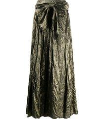 forte forte tie-waist velvet skirt - gold