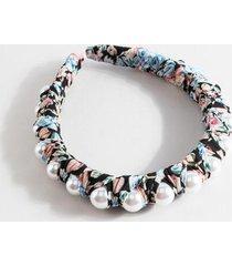 marla floral pearl lined headband - black