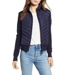 women's canada goose hybridge quilted & knit jacket, size x-large (16-18) - blue