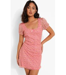 bloemenprint mini jurk met lage ronde hals, pink