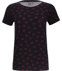 camiseta estampada print flores color negro, talla m