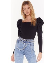 womens square neck sweater with puff shoulders - black