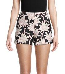 valentino women's virgin wool & silk floral shorts - nero - size 8