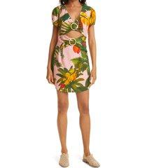 women's farm rio pink cocoa forest cutout mini dress, size x-large - green