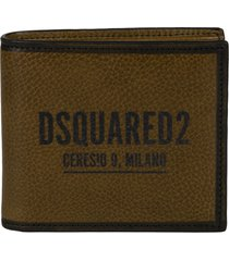 dsquared2 grained leather logo billfold wallet