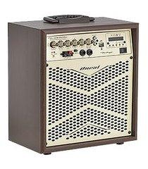 caixa amplificada vintage 8 pol 12v usb fm aux led oneal ocm-4008b marrom
