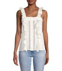 see by chloé women's button-front top - white - size 34 (4)