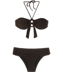 adriana degreas front buckle plain bikini set - brown