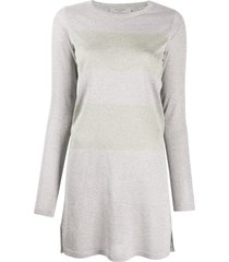 allsaints block stripe jersey dress - silver