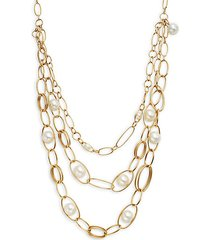 18k yellow gold & 10mm round pearl chain layered necklace