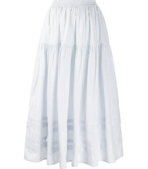 cecilie bahnsen tiered striped-panel skirt - blue