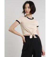 blusa feminina básica com amarração manga curta decote redondo bege claro
