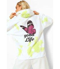tie dye vlinder hoodie met rugopdruk, pale green