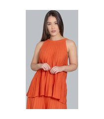 regata charme tricot plissada laranja