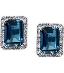 amethyst (1-1/2 ct. t.w.) & diamond (1/6 ct. t.w.) stud earrings in 14k white gold (also available in london blue topaz)