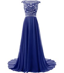 blevla cap sleeve beaded bodice chiffon bridesmaid evening party prom gown ro...