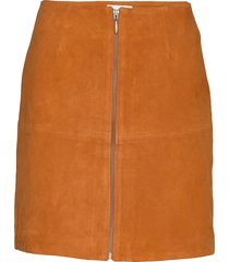 leather skirt short kort kjol orange maud