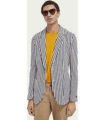scotch & soda striped single-breasted organic cotton piqué blazer