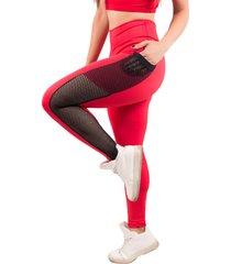 calça bella fiore modas legging fitness bolso tela vermelho