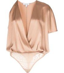 cushnie single-sleeved bodysuit - brown