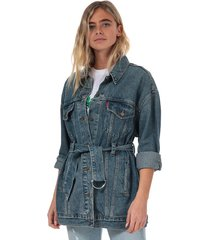 womens belted trucker jacket