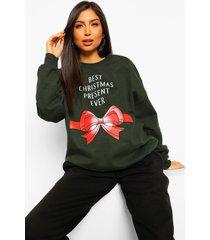 zwangerschaps 'best christmas present ever' sweater, forest