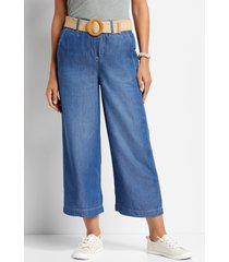 maurices womens one5one™ high rise medium belted wide leg cropped jeans blue
