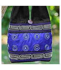 cotton and silk blend shoulder tote bag, 'summer indigo' (thailand)